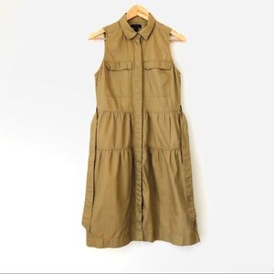 J CREW Khaki Tiered Sleeveless Midi Dress w/Belt
